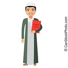 Arab businessman with briefcase vector flat cartoon illustration.
