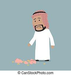 Arab businessman with broken piggy bank - Cartoon arab ...