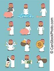 Arab businessman with money cartoon character set. Rich ...