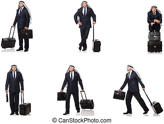 Arab businessman with suitcase isolated on white