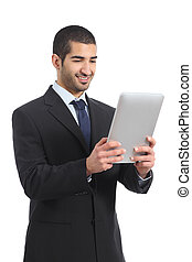 Arab businessman working reading a tablet ereader