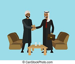 Arab businessmen shake hands, successful negotiations,...