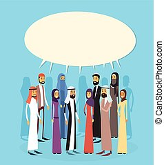 Arab Businesspeople Group Chat Bubble Communication Concept, Muslim Business People Talking Arabic Social Network