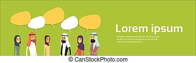 Arab Businesspeople Group Chat Bubble Communication Concept, Muslim Business People Talking Arabic Social Network, Copy Space