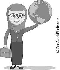 arab businesswoman holding globe black and white color style