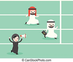 Arab Businesswoman holding megaphone cheer up two arab businessman running in track to reach goal, fair competition business concept