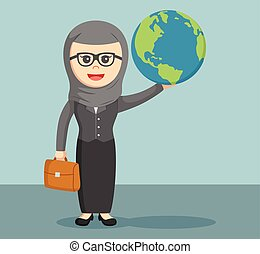 arab businesswoman holding the glob