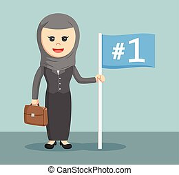 arab businesswoman with number one