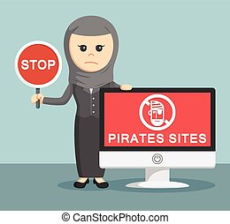 arab businesswoman with pirates