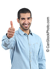 Arab casual happy man gesturing thumbs up isolated on a...