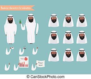 Arab character for scenes. Parts of body template for animation