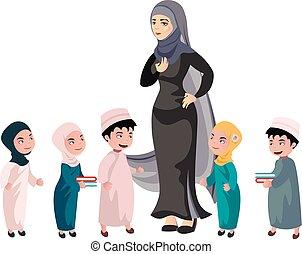 Arab children With female teacher Muslim