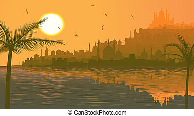 Arab city by sea at sunset.