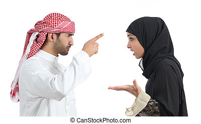 Arab couple discussing angry isolated on a white background...