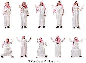 arab, człowiek, odizolowany, na białym, tło