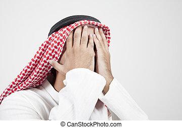 arab, człowiek, przykrycie, jego, twarz