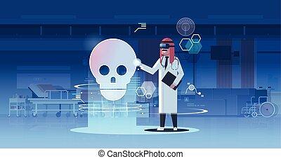 arab doctor wearing digital glasses looking virtual reality...