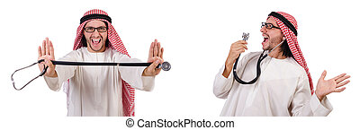Arab doctor with stethoscope on white