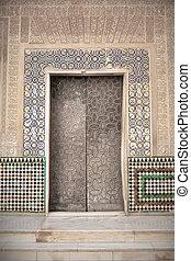 Arab door in the Alhambra in Grandda, Spain