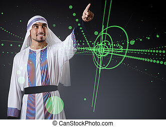 arab, ember, nyomás, tényleges, gombok, alatt, futuristic, fogalom