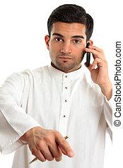 Arab ethnic man pointing finger