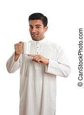 Arab ethnic man showing coffee