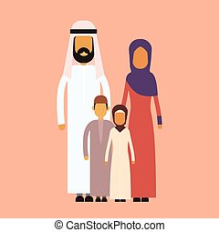Arab Family Four People, Arabic Parents Two Children