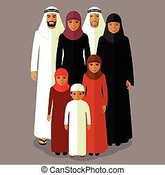 arab family, muslim people, - vector arab family, muslim...