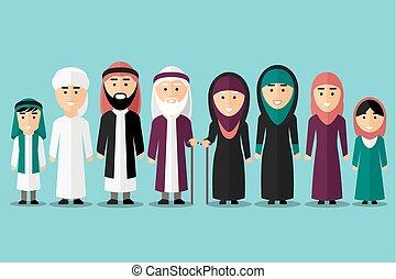 Arab family. Vector flat muslim characters