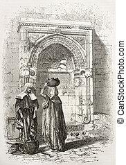 Arab fountain - Old illustration of an Arab fountain in...