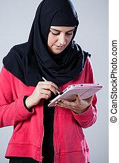 arab, használ, leány, tabletta