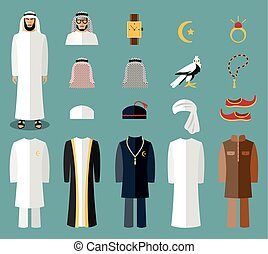 Arab man clothes and accessories. Arab cloth, traditional...