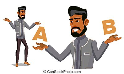 Arab Man Comparing A With B Vector. Balance Of Mind And Emotions. Client Choice. Compare Objects, Ways, Ideas.Isolated Flat Cartoon Illustration