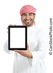 Arab man holding a blank tablet screen advice