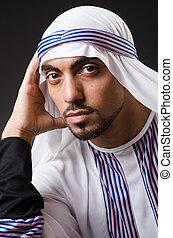 Arab man in deep thinking mode