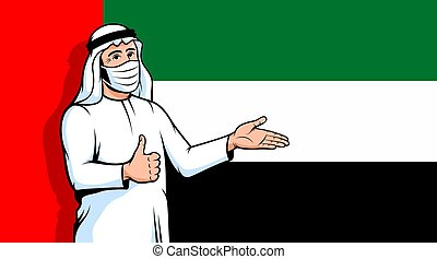 Arab man in fase mask thumbs up on UAE flag background. Muslim person during a pandemic. Vector illustration.