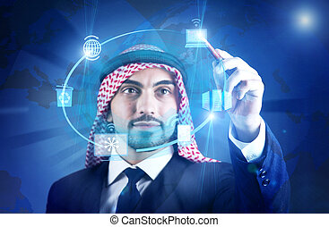 Arab man in global computing concept