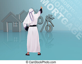 Arab man in mortgage concept