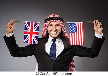 arab, man, med, förenad rike flagg