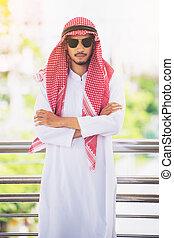 Arab man or businessman crossed arms