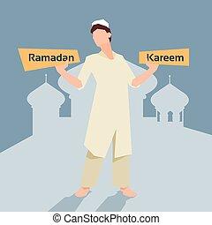 Arab Man Plate Ramadan Kareem Mosque Muslim Religion Holy Month