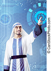 Arab man pressing virtual buttons in futuristic concept