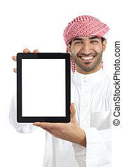 Arab man showing a tablet display app