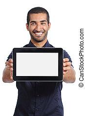 Arab man showing an app in a  blank horizontal tablet screen