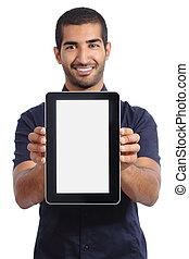Arab man showing an app in a  blank tablet screen