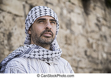 Arab man wearing Keffiyeh - Proud arab man wearing Keffiyeh