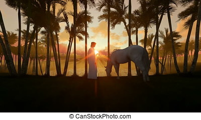 Arab man with horse at oasis in desert with water pond and palm trees at sunset