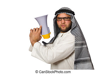 Arab man with loudspeaker isolated on white