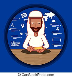 arab man with social media icons