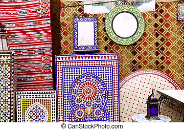 arab mosaic deco tiles and fabric decoration